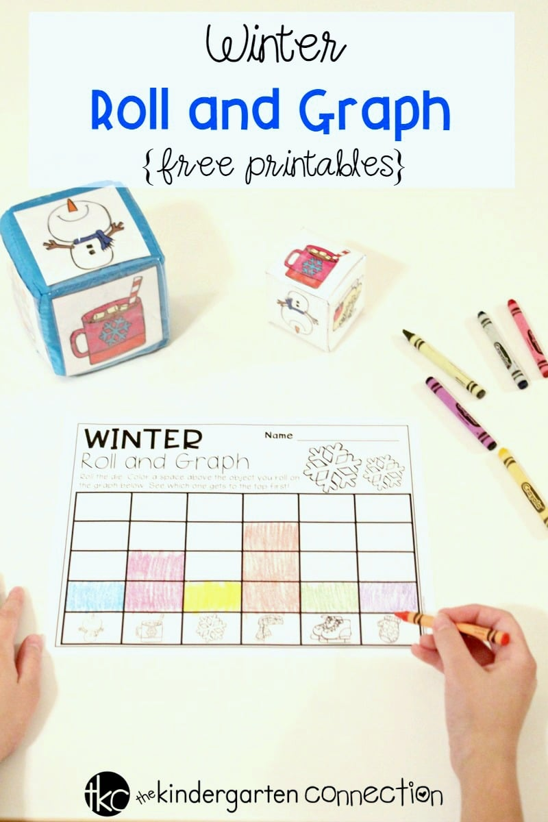Have fun learning about graphing with this free printable winter roll and graph graphing activity! It's perfect for Pre-K and Kindergarten math centers.