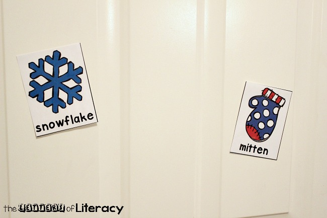 This free printable winter writing center is a fun, simple activity for write the room or word work during your winter literacy centers!