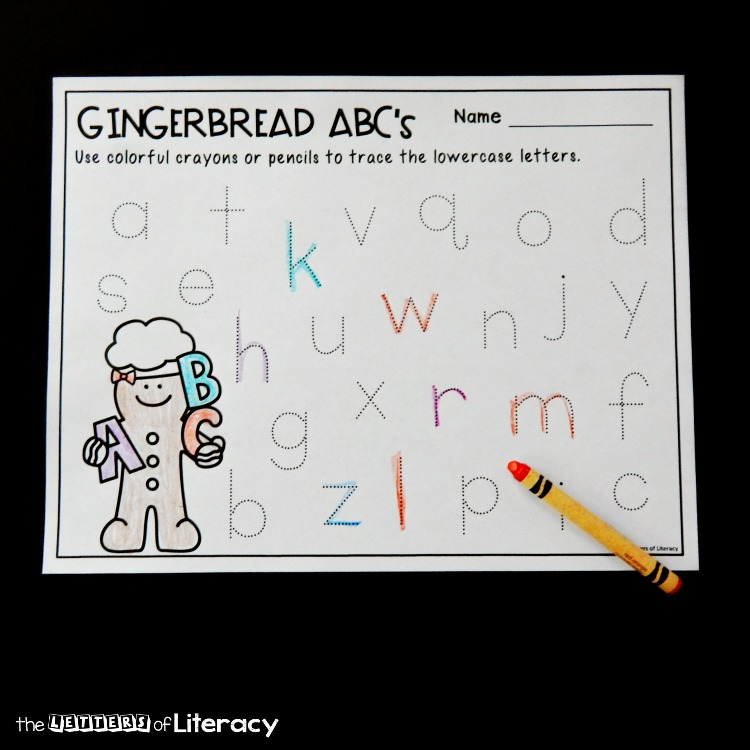 These letter tracing gingerbread printables are so fun for working on letter recognition and formation with Pre-K and Kindergarten students!