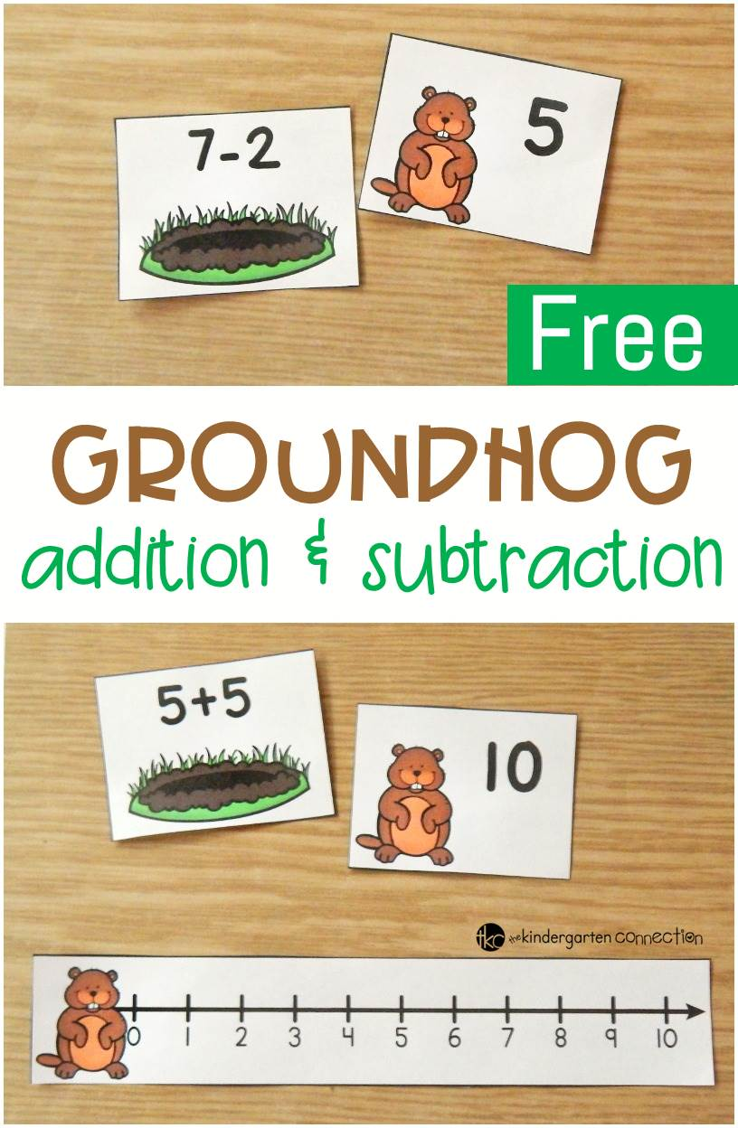 This math facts center is a great Groundhog Day activity for working on addition and subtraction within 10 for Kindergarten and 1st grade students!