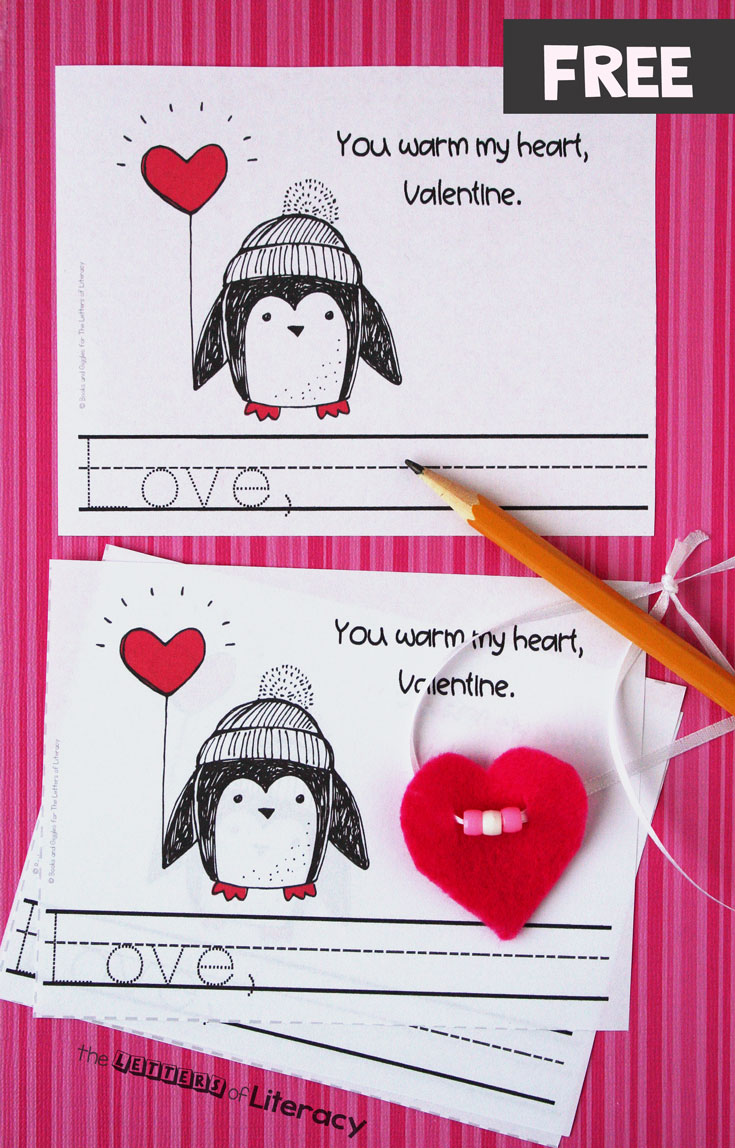 These penguin-themed printable Valentines are perfect for classroom Valentine's Day cards, and there is even a fun, non-candy gift to make with your students too. This would be so fun for Valentine's Day centers or a class Valentine's Day party!