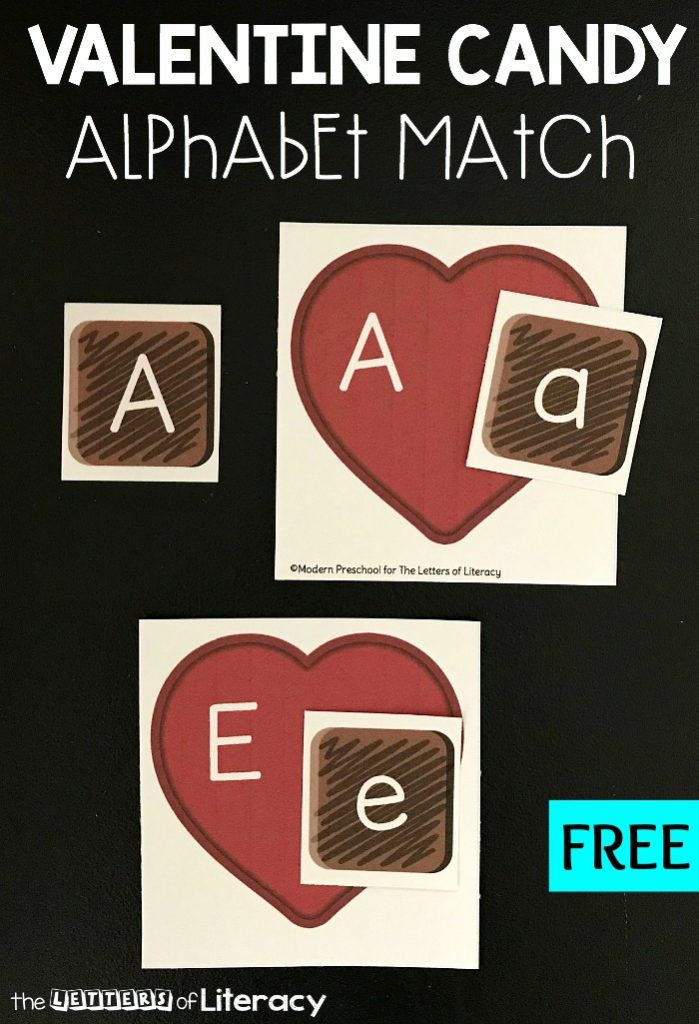 Valentine Box of Chocolate Alphabet Match Activity for Kindergarten, FREE Printable center activity!