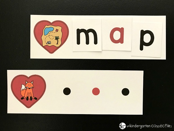 This Valentine Spelling CVC Words activity combines hearts with letter sounds and building simple words. It's such a fun Valentine's Day literacy center!