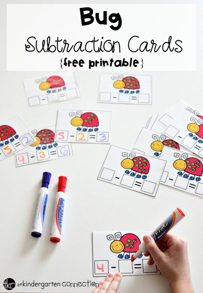 Bug Subtraction Cards Free Printable