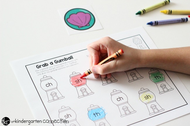 Digraph Matching Gumball Activity FREE Printable ,