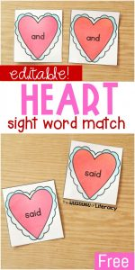 Editable Heart Sight Word Match