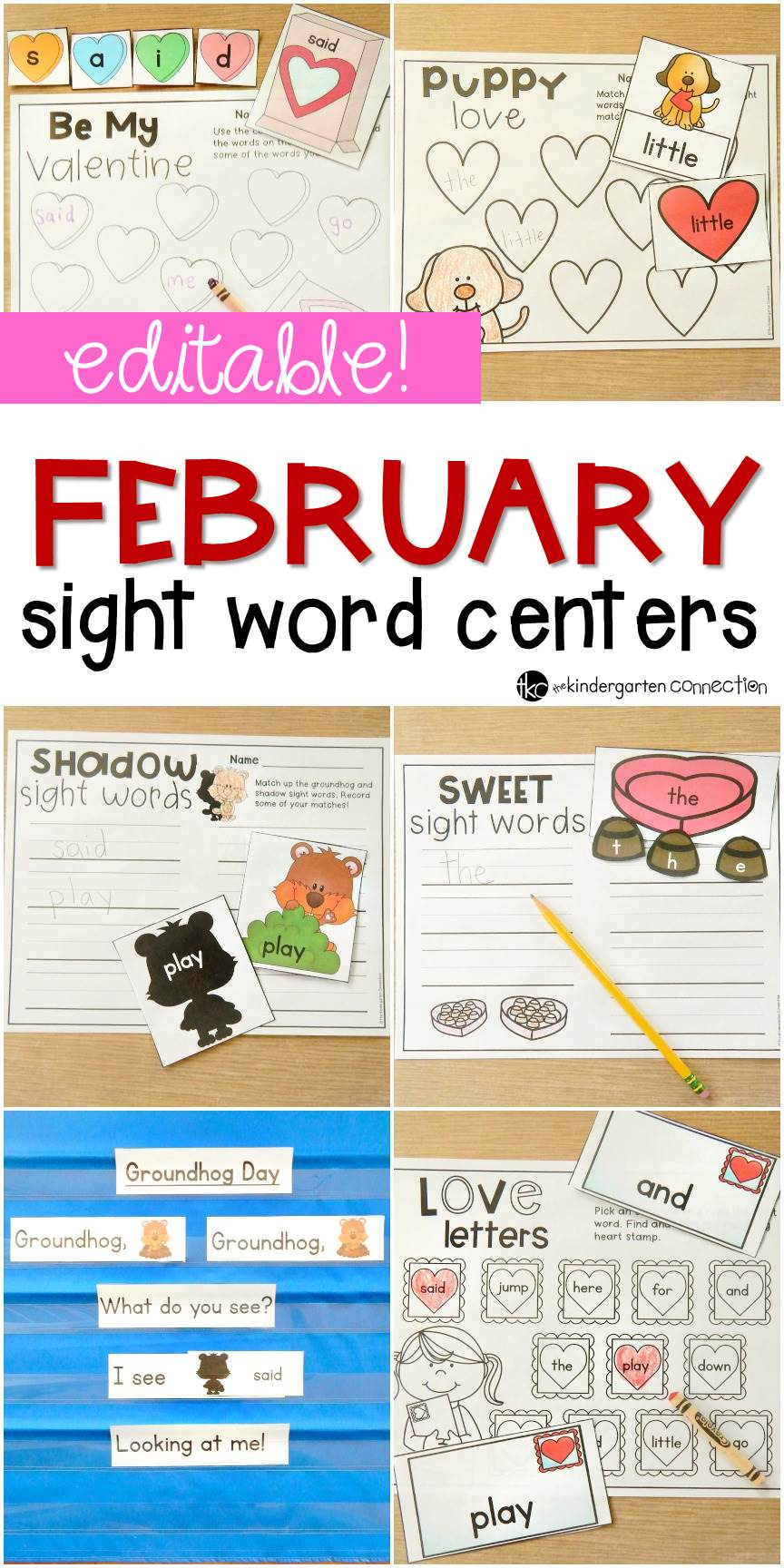Such fun, EDITABLE sight word games for Valentine's Day! You can use them with any word list!