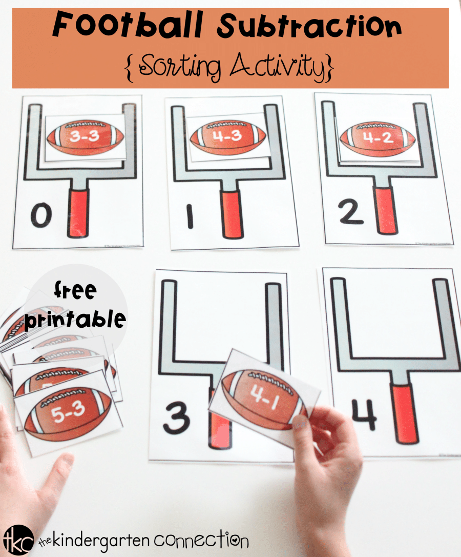 Subtraction Sorting Football Math Game