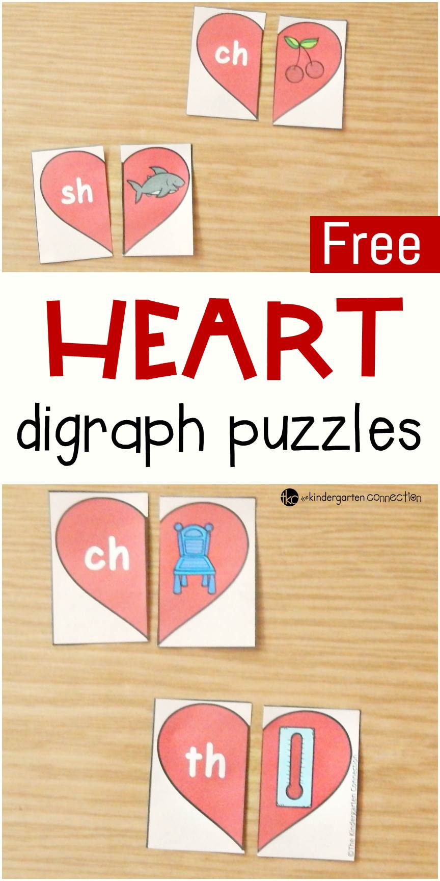 These heart-themed digraph puzzles are perfect for working on beginning digraph sounds sh, ch, th, and wh with early readers this Valentine's Day!