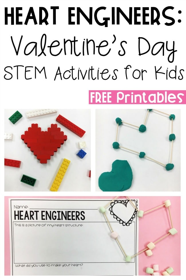 Valentine's Day STEM for the classroom - perfect for a Kindergarten Valentine's Day party!