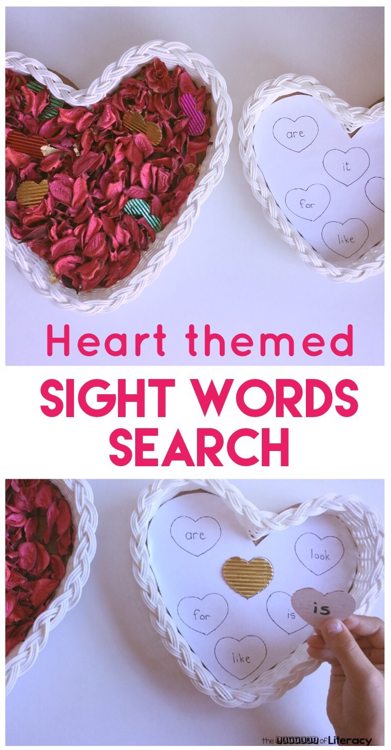 This heart-themed sight word search is such a fun, hands-on activity for Valentine's Day literacy centers or a Valentine's Day sensory bin!