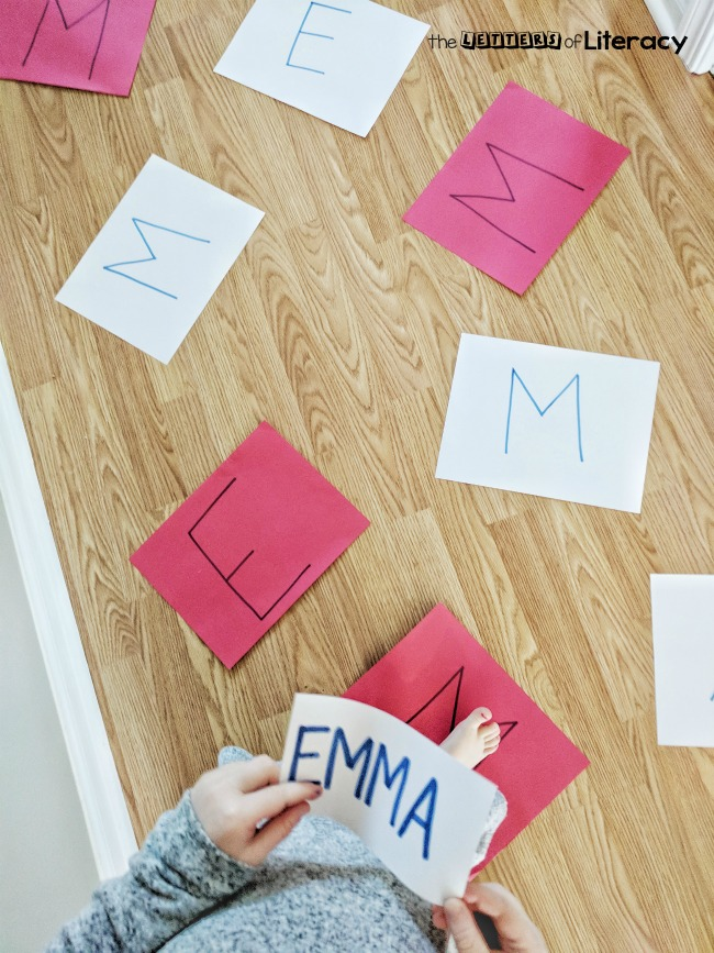 letter jump name spelling activity!