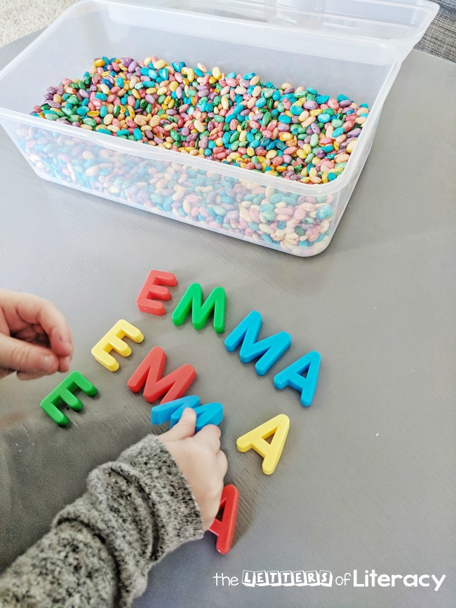 name spelling with a sensory bin and letters