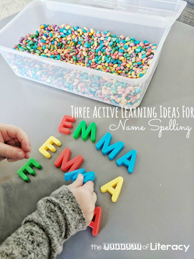 Your kids will love this fun, hands-on name activities! Play in a sensory bin, build with blocks - so many great ideas for name spelling here!