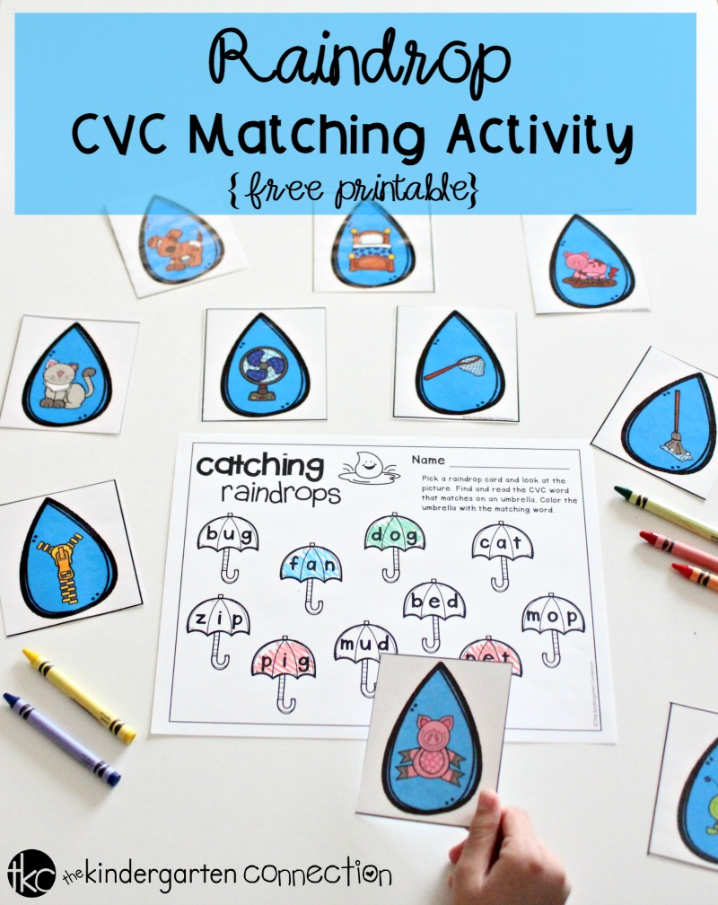 Get this FREE Raindrop CVC Word Matching Activity and place it in your literacy center for a fun way to practice reading CVC words!