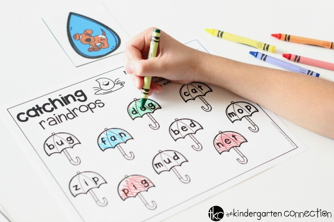 Raindrop CVC Word Matching Activity FREE printable