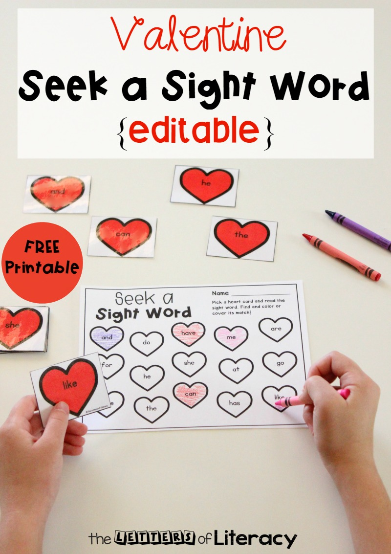 Grab this Editable Valentine's Day sight word game and use it in your classroom for added fun this month! You can choose up to 15 sight words and play 3 different ways! Your students will have a blast reading sight words with this Valentine literacy activity! Get it for FREE!