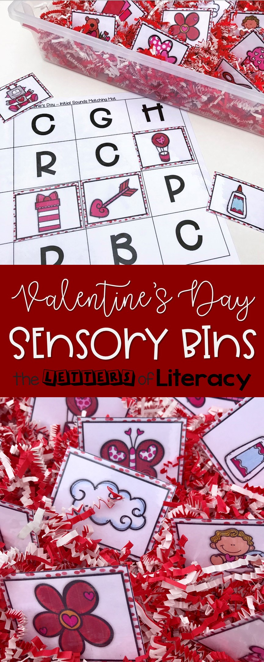 These Valentine's Day Sensory Bins are a great way to have hands-on, interactive fun with literacy skills this Valentine's season with Kindergarten and 1st Grade students!