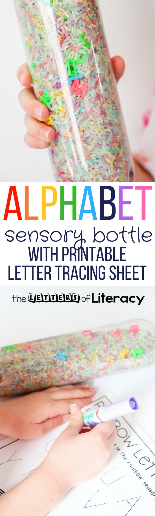 Your kids will love this bright and colorful alphabet sensory bottle! It even comes with a free letter tracing printable to record the letters you find. It's such a fun, hands-on literacy center for Pre-K and Kindergarten!