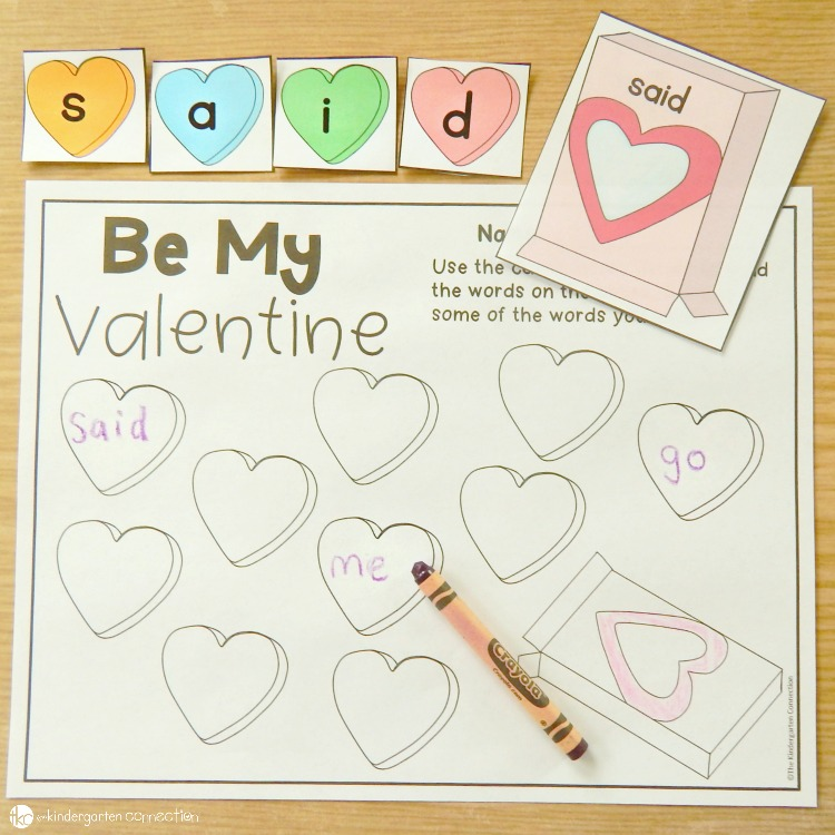 Pick a candy heart box and build the sight word with candy heart letters in this Be My Valentine activity.