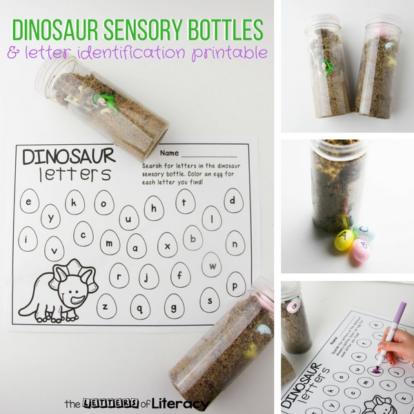 Do you have any dinosaur fans in your classroom? This duo of Dinosaur Sensory Bottles with a corresponding Dino Letter Hunt alphabet printable will be such a hit in a Pre-K and Kindergarten literacy center!