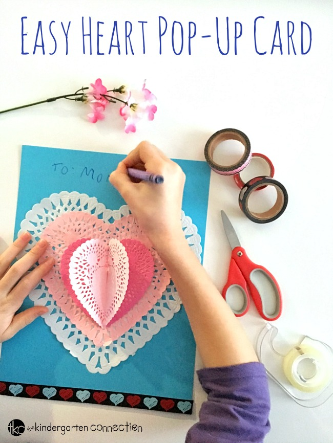 This heart pop-up Valentine's Day card is perfect for a classroom Valentine's Day party, Valentine's Day craft, or to give to someone special!