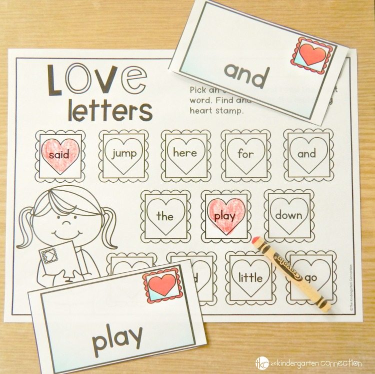 Pick an envelope and read the sight word. Find and color its matching stamp on the paper!