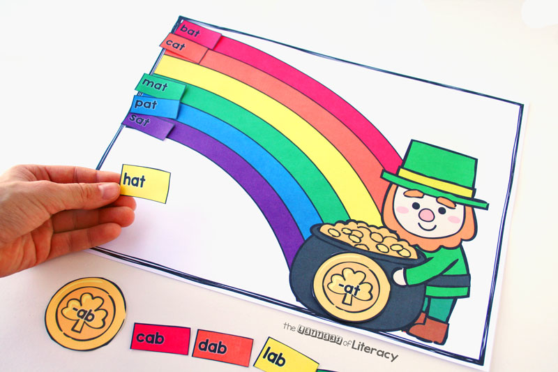 This St. Patrick's Day word family activity is perfect for working on short vowel word families in Kindergarten or 1st grade! What a fun word work center for March!