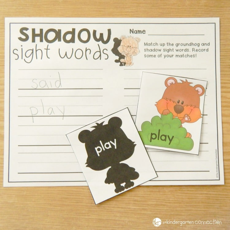 Match up the groundhogs to their sight word shadows, and record some of your words on the optional recording sheet.
