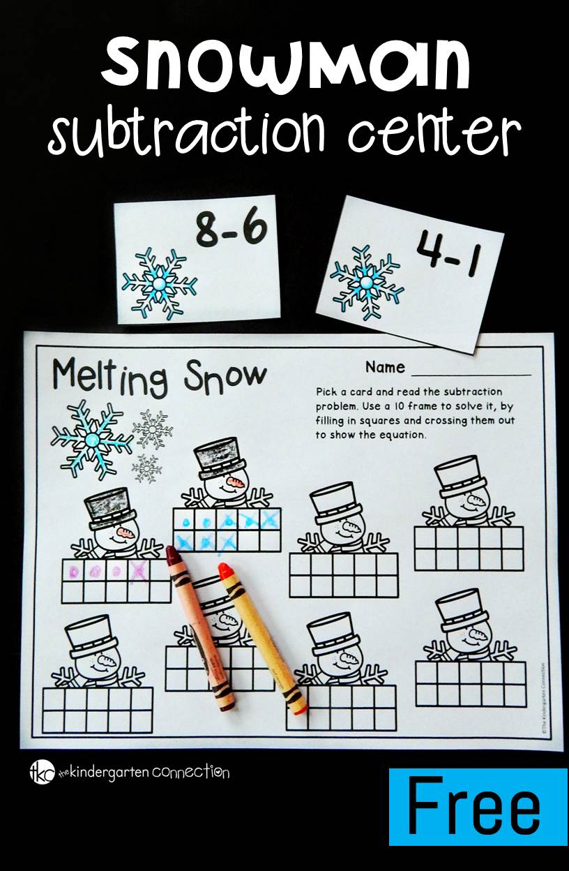 This subtraction winter math center is a fun way for Kindergarten students to work on beginning subtraction within 10 and work with ten frames too!