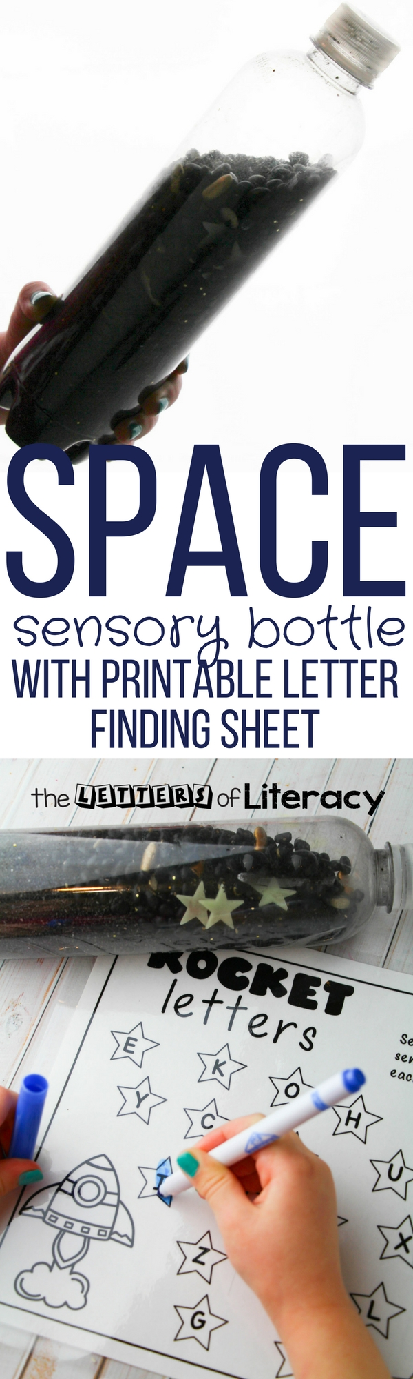 Space Alphabet Sensory Bottle with FREE Printable for pre-k and kindergarten!