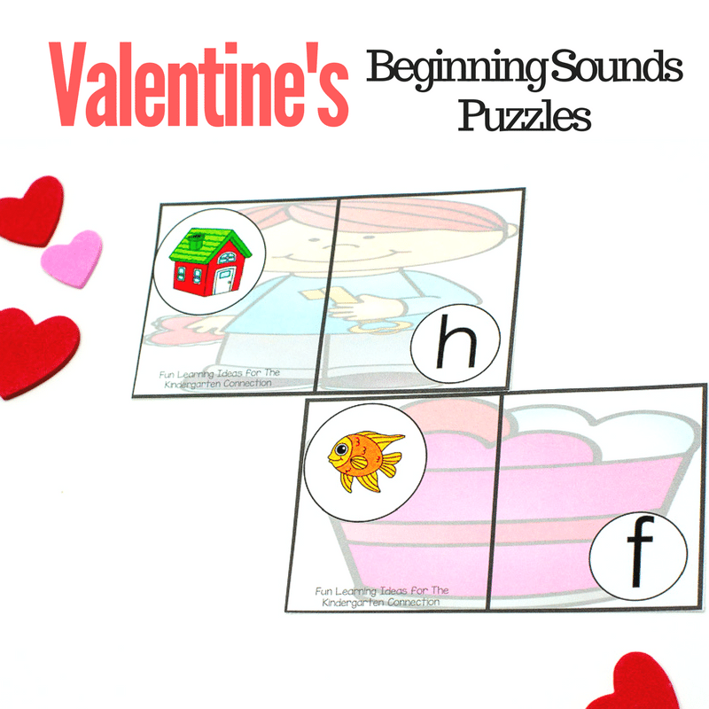 These hands-on Valentine's Day beginning sounds puzzles are sure to help your kids work on their letter identification and initial sounds!