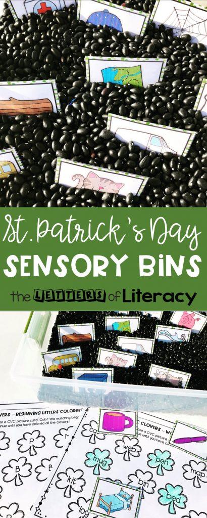 St. Patrick's Day CVC Words Sensory Bins with FREE Printables