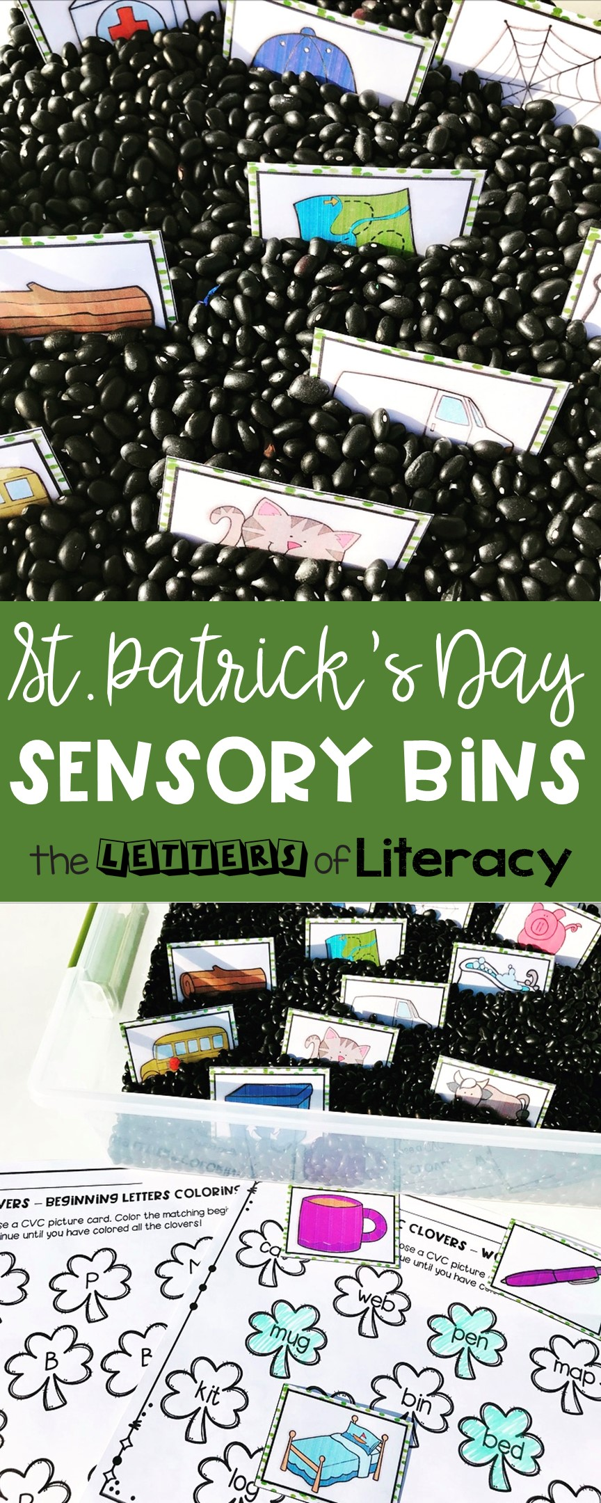 This St. Patrick's Day Sensory Bin is so much fun for March! Grab the FREE CVC printables to make it a perfect hands-on literacy center for Kindergarten or 1st grade!