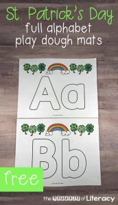 These St. Patrick's Day Play Dough Alphabet Mats are so much fun! Print out the alphabet play dough mats to add to your St. Patrick's Day literacy centers in Pre-K or Kindergarten this March!