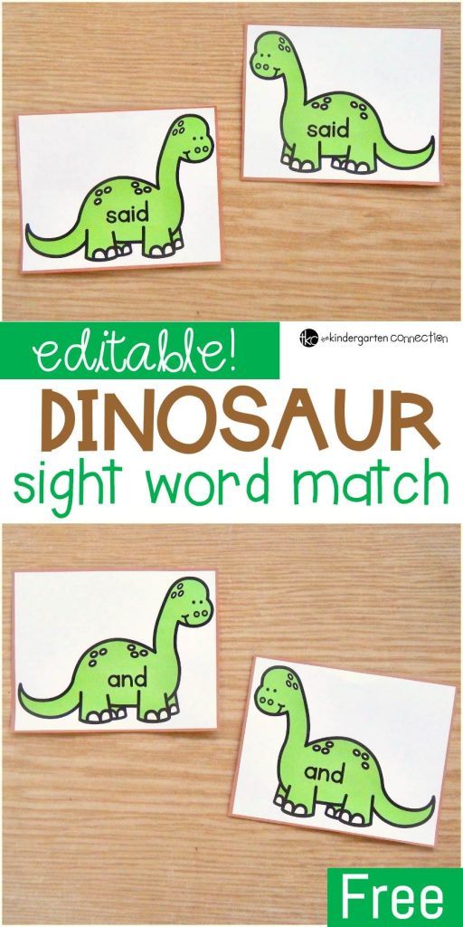 FREE Editable Dinosaur Sight Word Matching Game for Kindergarten!