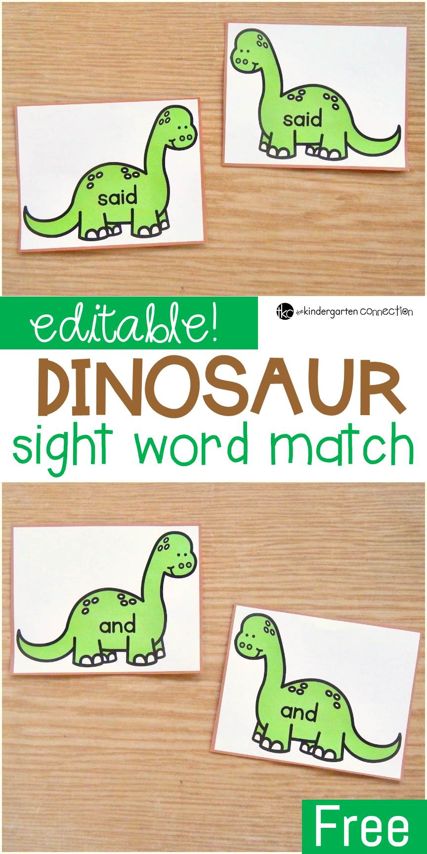 This editable sight word dinosaur game is a simple sight word matching game that works with ANY word list - so fun for Kindergarten or 1st grade word work!