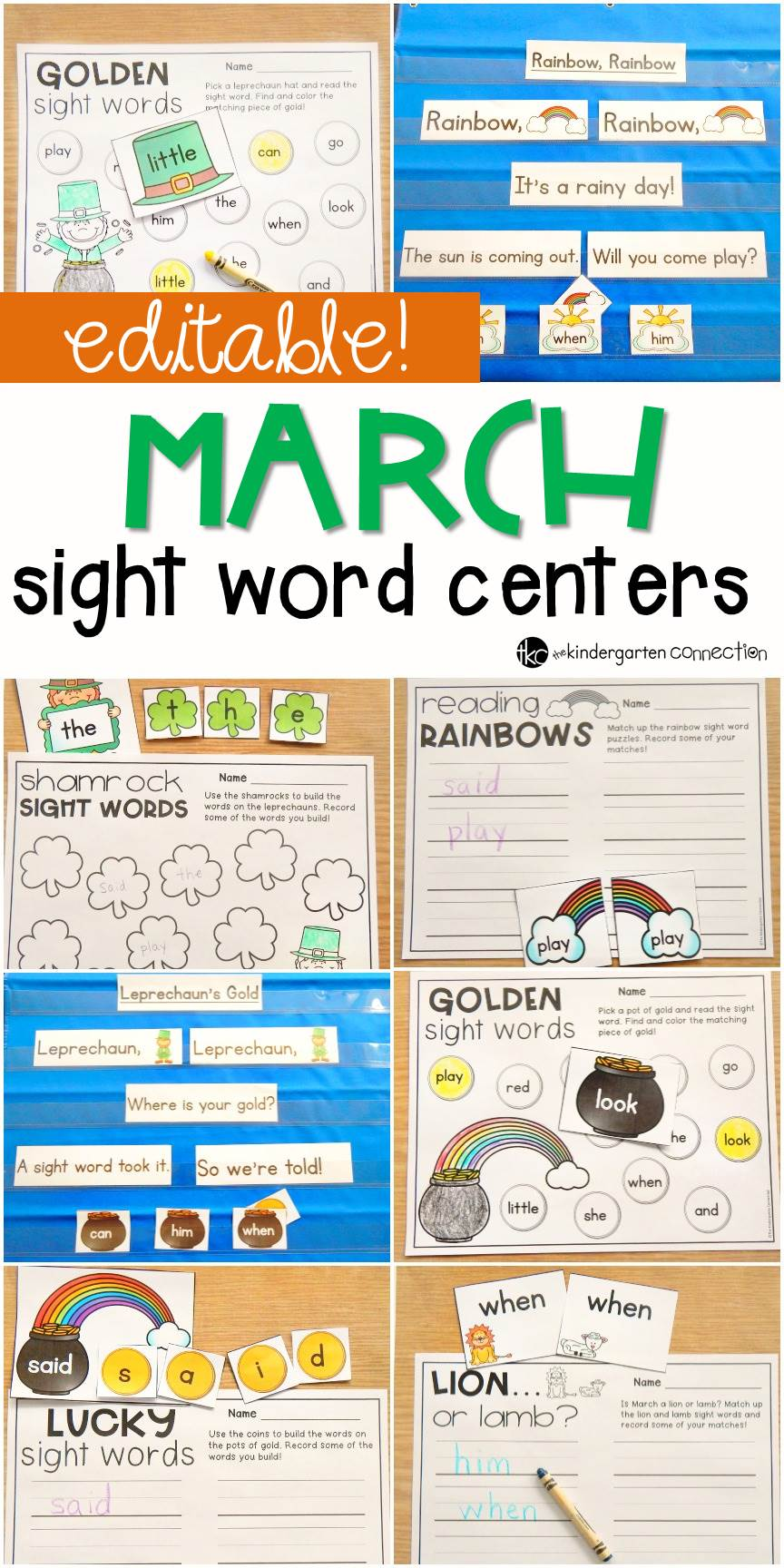 Editable sight word games for any word list! Perfect for Kindergarten and 1st grade in March Literacy Centers!