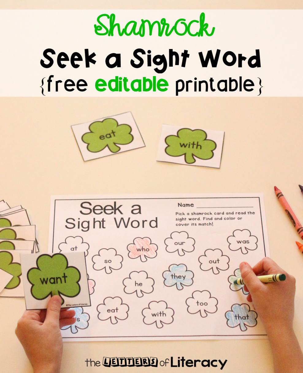 Bring some fun to your literacy centers this month with this Editable St. Patrick's Day Sight Word Game! Choose the words you want your students to work on with this fun game that is perfect for Kindergarten and 1st grade literacy centers this March!