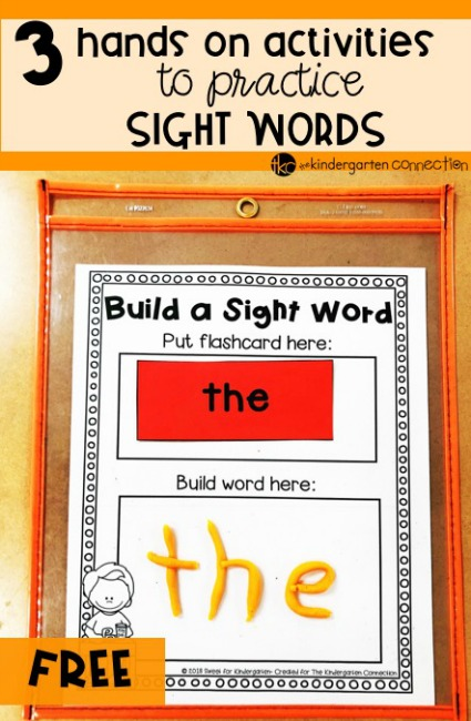 These hands-on sight word activities are so much fun! Plus, grab a FREE printable for making sight words out of play dough! Perfect for sight word centers.