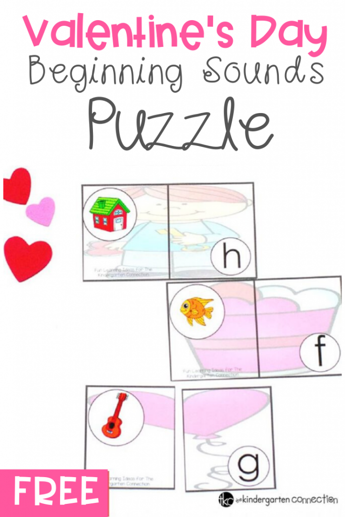 These hands-on Valentine's Day beginning sounds puzzles are sure to help your kids work on their letter identification and initial sounds! #beginningsounds #valentinesday #freeprintable #literacycenter