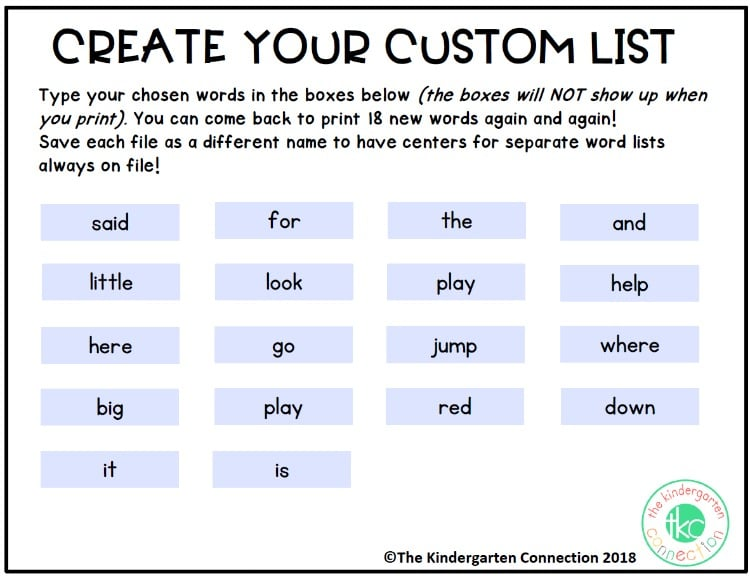 EDITABLE sight word games customized list