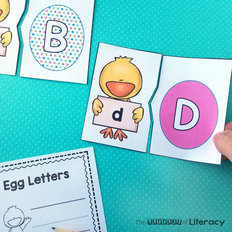 Chick and Egg letter matching activity with free printables