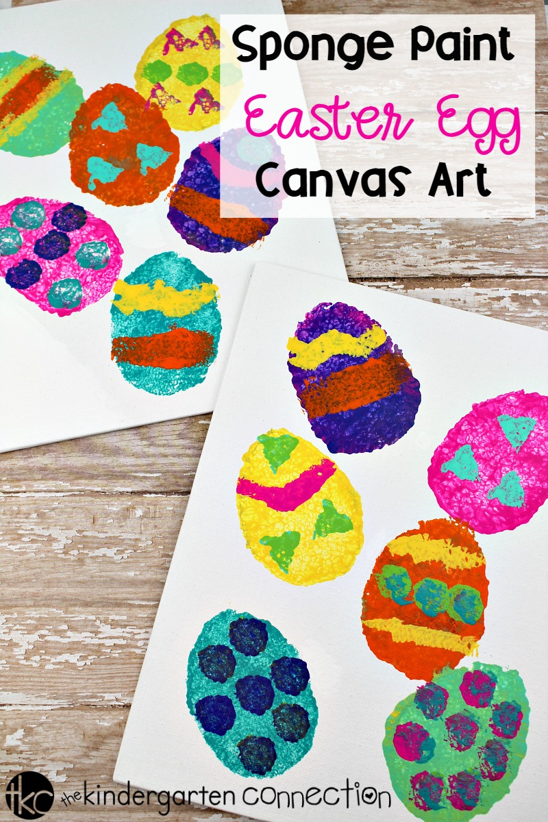 Create an Easter art masterpiece with this Sponge Painting Easter Egg Canvas Easter Art project! Host an art walk in your classroom this Easter season!