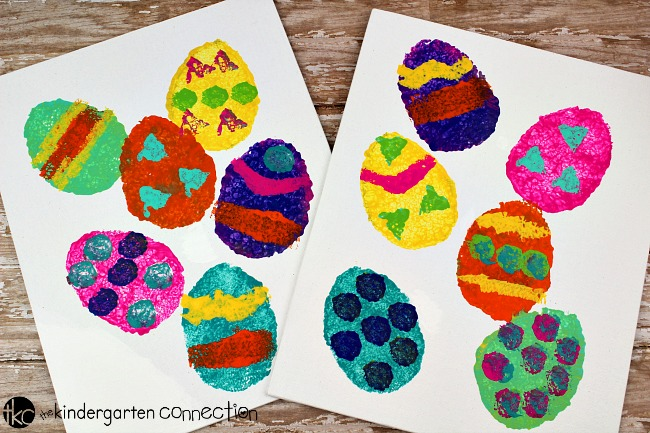 Easter Egg Sponge Painting Canvas Easter Art, sponge paint eggs on canvas