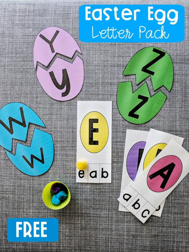 Match Easter Eggs and uppercase and lowercase alphabet letters with this FREE PRINTABLE Easter Egg Letter Pack! Makes a great Springtime Literacy Center as well!