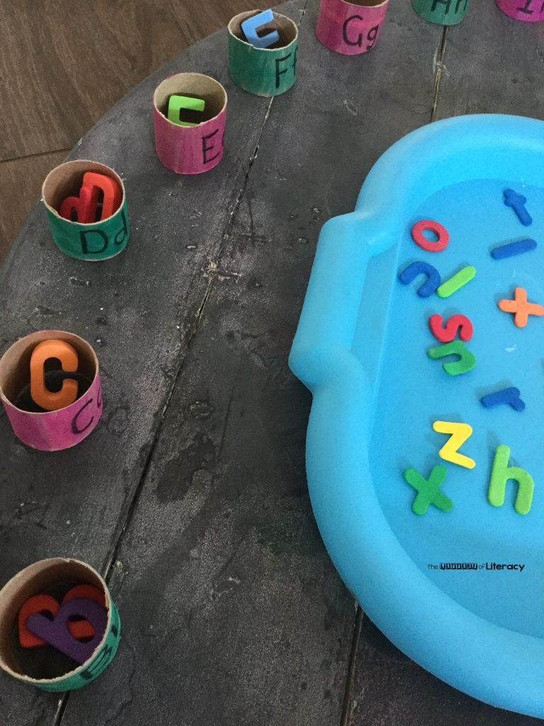 Recycled Cardboard Roll Alphabet Match Activity for Pre-K and Kindergarten!