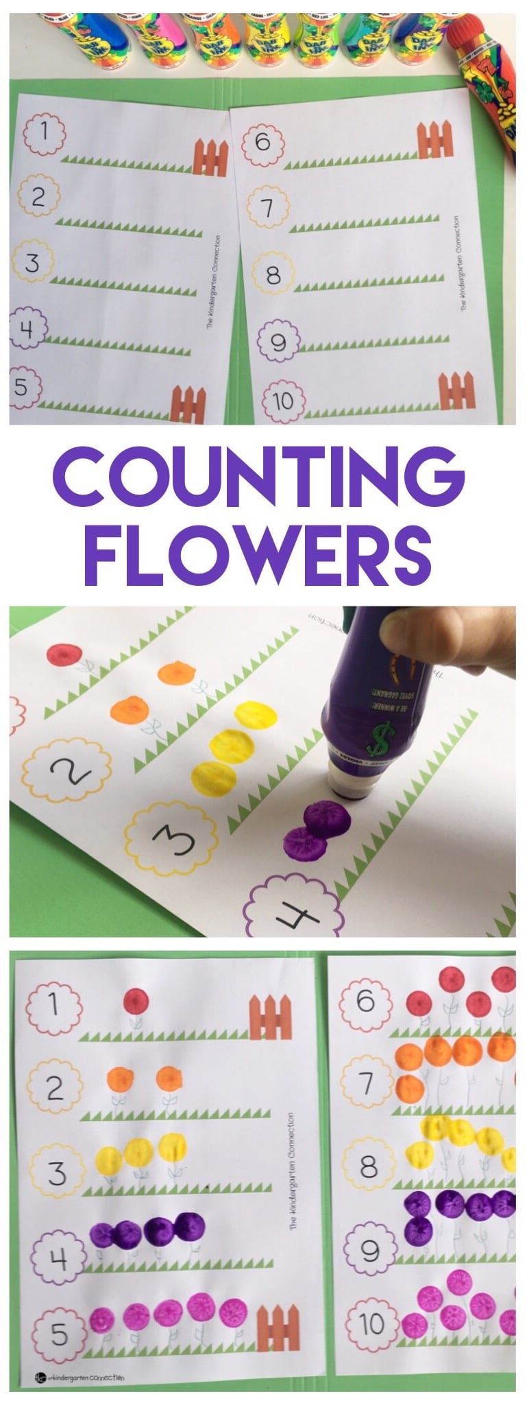 FREE Flower Counting Printable Activity, perfect for one-to-one correspondence and counting in preschool and kindergarten!