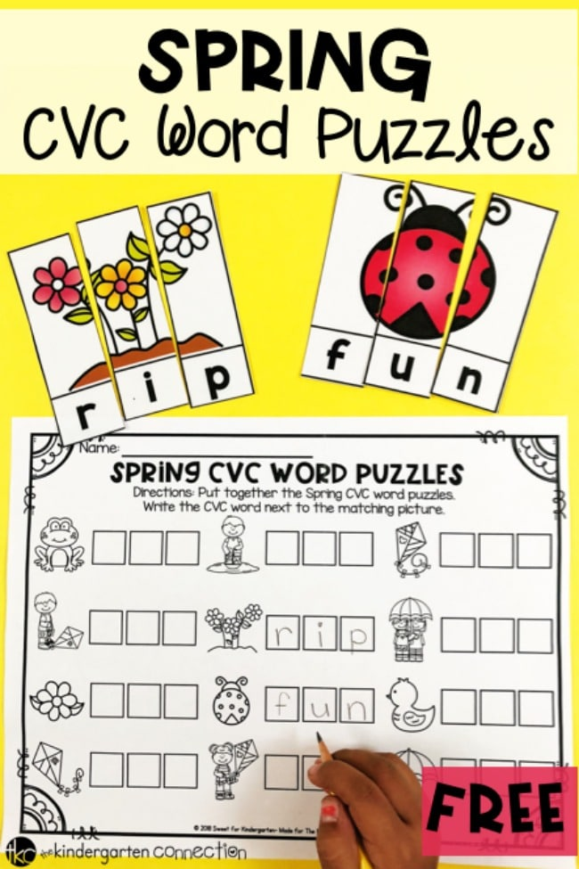 Make word work fun this spring with these  FREE PRINTABLE Spring CVC Word Puzzles! The record sheet is an added bonus and gives writing practice too!