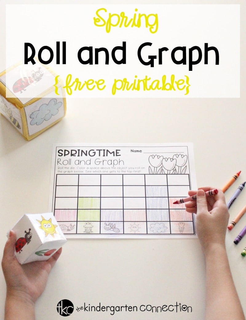 Turn your math center into a fun experience with this Roll and Graph Spring Math Activity! Perfect for spring math centers in Preschool and Kindergarten!